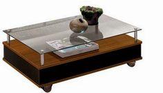 Mesa de Centro com vidro Gabriela Imbuia c/ Preto, por R$ 179,00