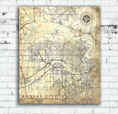 KANSAS CITY KS Canvas Print ks Kansas City Vintage map Vintage Map Wall Art poster Vintage retro old antique Kansas city map United States