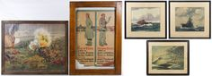 """Lot 336: World War I and II Era Print and Photograph Assortment; Four framed items including a chromolithograph """"An Undying Story of British Valor,"""" a German broadside, a 1893 print of the Cossack massacre of the Lithuanians and a 1914 Valentine's Day party group photograph; together with three World War II ship prints"""
