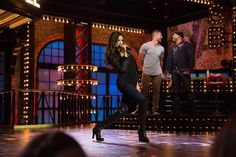 Nina Dobrev performs on Spike TV's 'Lip Sync Battle' as Tim Tebow and LL Cool J sing along
