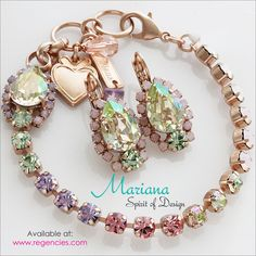 Mariana Pina Colada Teardrop Surrounding Crystal Earrings & Tennis Braclet. Available at www.regencies.com