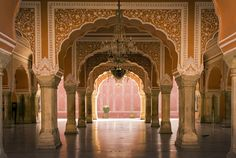 Photo about Luxurious and exotic interior hall in the palace of Jaipur, India. Image of masonry, fort, architecture - 29236030