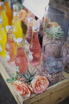 Many of the popular Summer wedding colors are bright pops of pink, orange, yellow and lime green. Hand your guests a cold mini glass bottle of Mexican soda with a fun paper straw to send them off with a cool, non-alcoholic beverage that further ties together the colors of your wedding. They are refreshing and come in a wide variety of festive colors!