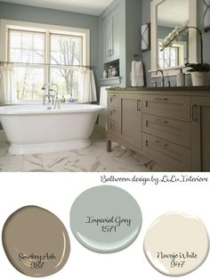A traditional bathroom and fresh color palettes. Inspiration for a spa like bathroom colors Soothing Color Palettes- LiLu's Look of the Day - Lilu Interiors Grey Bathrooms, Bathroom Spa, Bathroom Ideas, Paint For Bathroom Walls, Neutral Bathroom, Bathroom Paint Inspiration, Colors For Bathroom Walls, Painted Bathroom Cabinets, Beige Tile Bathroom