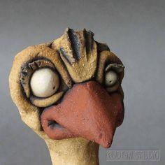 Ceramic Ostrich Bird Wall Sculpture von RudkinStudio auf Etsy