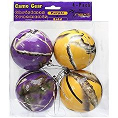 NEXT Camo Christmas Ornaments Purple & Gold 4 pk Team Colors Purple Christmas Ornaments, Christmas Tree, Purple Gold, Color Show, Easter Eggs, Camo, Packing, Make It Yourself, Holiday Decor
