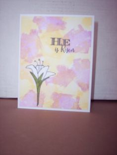 Easter card made using CTMH Brushstrokes and His love stamp sets. I stamped the lily first and used a white crayon to color the lily, then stamped over it with and then whipped the ink off of the lily (ink comes right off the crayon).