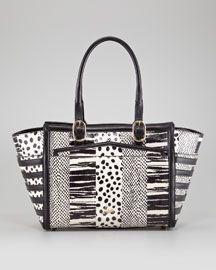 V1D9J Christian Louboutin Farida Patchwork Bowler Bag, Brown/White