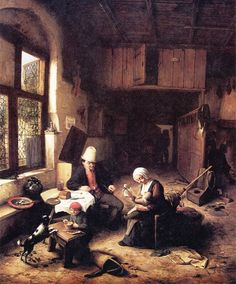 The Interior of a Peasant's Cottage - Adriaen van Ostade, 1668
