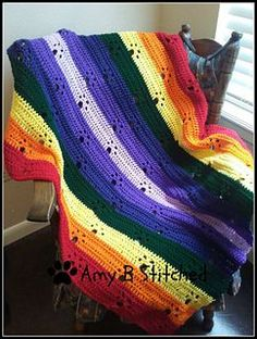 A beautiful tribute blanket to memorialize the loss of a cherished member of your fur family! Or as a gift to an animal lover!! Work it up in ANY color imaginable or EVERY color imaginable if you would like to work through your yarn stash!!! I cannot WAIT to see all of the colors combinations and blankets that are made!!
