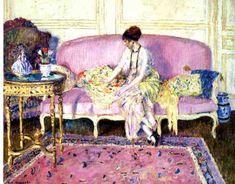 Frederick Carl Frieseke, Woman Seated on Sofa in Interior,   1912-15