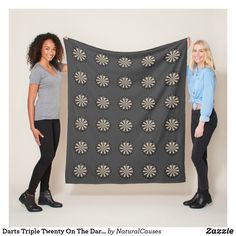 Darts Triple Twenty On The Dartboard, Grey Fleece Blanket