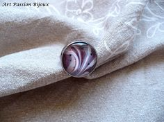 Hand painted on water ring, bordeaux purple white beige nail polish, adjustable ring, *ebru art, made in Italy.
