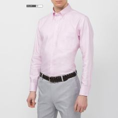 MEN Easy Care Oxford Long Sleeve Shirt - Pink