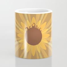 Sunflower Mug - Sun, flower, pun, floral, flora, flowers, nature, plants, burst, brown, yellow, gold, illustration, drawing, vector, art, design