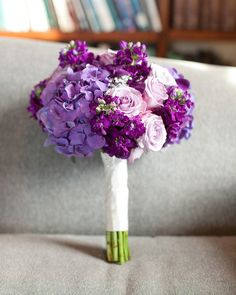Roses, stock and purple hydrangea bridal bouquet. Oh my goodness this is perfect! I love it!