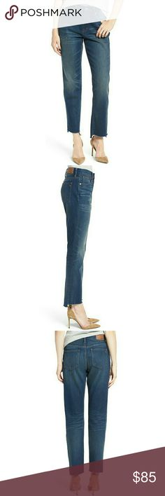 """Madewell Step Hem Jeans Madewell step hem jeans  A '90s-chic high rise and frayed step hems define vintage-inspired jeans cut with a cool relaxed fit. The indigo wash is perfectly whiskered and faded, while beautiful golden topstitching completes the lived-in look.  Approximately 26 1/2"""" inseam 