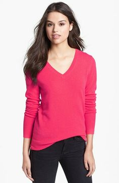 $79 Purple Dark or Heather Dark Camel - Halogen® V-Neck Cashmere Sweater (Regular & Petite) available at #Nordstrom