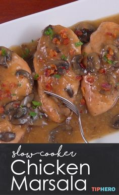 Chicken Marsala is one of our favorite meals -- and we've cracked the recipe so you can make it at home in your slow cooker. So easy, so good. Click for the video and recipe. #chickendinner #familydinner #easyrecipes #easymeals #dinnertime #takeout #crockpot #recipes