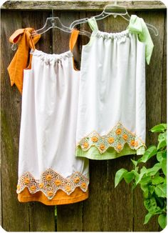 Line a vintage pillowcase to make these adorable dresses ~ tutorial