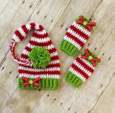 Crochet Baby Hats Crochet Baby Christmas Striped Elf Stocking Hat and Legwarmers Set - Crochet Baby Clothes, Crochet Baby Hats, Love Crochet, Crochet For Kids, Baby Knitting, Knit Crochet, Crochet Christmas Hats, Holiday Crochet, Christmas Fun