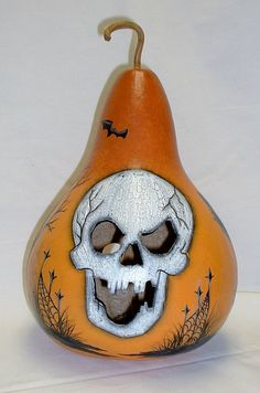Halloween Light Up Skull Gourd  Hand Painted by FromGramsHouse, $45.00