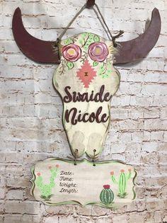 Cow skull baby boy door hanger   Baby door hangers ...