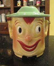 Smiling Oscar Soldier Face Vintage Cookie Jar Classics Block China Ceramic Repro