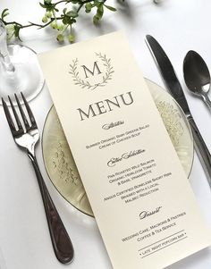 Ivory Wedding Menu Cards  Woodland Wedding by SideStreetDesigns