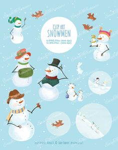 Digital Download Clipart – Variety of 12 Snowmen Christmas Winter Holiday JPEG and PNG files