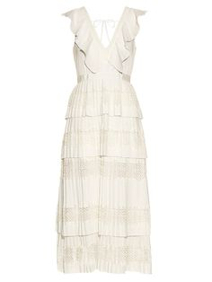 Pin for Later: 31 White Wedding Dresses You Can Wear Again and Again  Self-Portrait Victoria Tiered-Pleated Crepe de Chine Dress ($460)