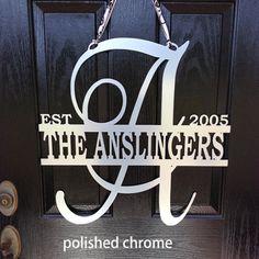 Metal monogram door hanger Monogrammed metal by housesensations