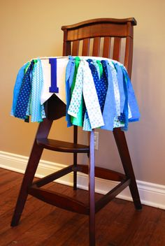 High Chair Birthday Rag Tie Fabric Bunting Banner by AudrianaPaper, $39.00