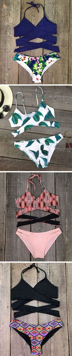 kaifongfu Bohemian Pattern Swimwear Sling Suits with Split Low Chest Beachwear Bikini Set Tankini