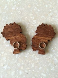 Afro Puff Wood Studs by MommysChocolateChip on Etsy