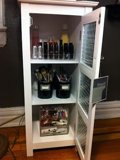 Here are some of my favorite pieces to organize my beauty and makeup products.   Details at www.DomesticatedMe.com