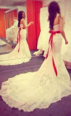 beautiful wedding dress with red belt. http://58 weddingdress.com