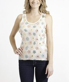Look what I found on #zulily! White Sheer Flower Tank - Women by Tru Luxe Jeans #zulilyfinds