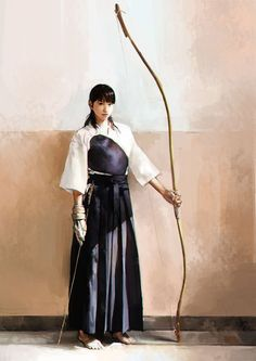 """Kyūdō is the Japanese martial art of archery. Experts in kyūdō are referred to as kyūdōka (弓道家). Kyūdō is based on kyūjutsu (""""art of archery""""), which originated with the samurai class of feudal Japan. Kyūdō is practised by thousands of people. Kendo, Japanese Kimono, Japanese Art, Female Samurai, Japanese Warrior, Art Asiatique, Traditional Archery, Warrior Girl, Warrior Princess"""