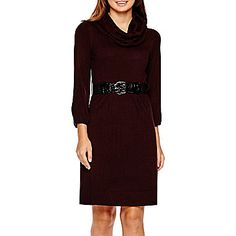 jcp | Alyx® 3/4-Sleeve Belted Cowlneck Sweater Dress