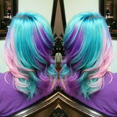 #mermaidhair #SalonEleven #hellobeautiful #lovemyjob Perfect Hair Color, Beautiful Hair Color, Cool Hair Color, Vivid Hair Color, Hair Dye Colors, Pastel Hair, Purple Hair, Hair Color Techniques, Colourful Hair