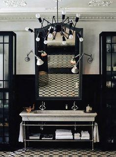 bathroom, light fixture, tile, luxury, sink from: B L O O D A N D C H A M P A G N E . C O M: