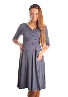 Purpless Maternity Classic Pregnancy Dress Vneck A line 4400