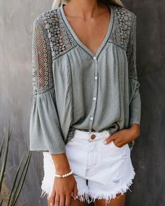 [£ Solid Lace V-Neck Flare Sleeve Sleeves Button Up Casual Elegant Blouses - VeryVoga Crochet Blouse, Crochet Lace, Elisa Cavaletti, Mode Boho, Denim Cutoffs, Casual Tops, Casual Shirt, Distressed Denim, Shirt Blouses
