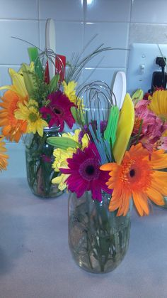Cheap, easy, and cute bridal shower centerpieces. I made these for a kitchen…                                                                                                                                                     More