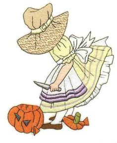 Sunbonnet Sue embroidery months of the year (October) Rag Quilt Patterns, Applique Quilts, Quilting Projects, Quilting Designs, Sue Sunbonnet, Kaleidoscope Quilt, Ribbon Embroidery Tutorial, Girls Quilts, Free Machine Embroidery Designs