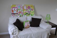 Love the paintings and the lamp and of course the owl