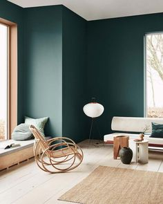 Home Decoration Bedroom A moody green wall color with organic modern meets eclectic furniture.Home Decoration Bedroom A moody green wall color with organic modern meets eclectic furniture. Scandinavian Interior Design, Interior Rugs, Living Room Interior, Scandinavian Design, Apartment Interior, Apartment Design, Scandinavian House, Interior Wallpaper, Antique Interior