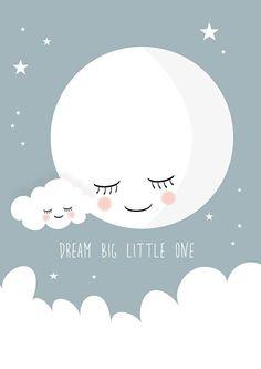 Poster Dream big little one grijs A4