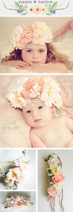 This Tieback Flower Crown will definitely amaze! It looks stunning on babies, little girls, Brides, and Mamas. Perfect for Spring photo shoots. Add a bit of whimsy with this beautiful Mason & Harlow tieback flower crown, $35.